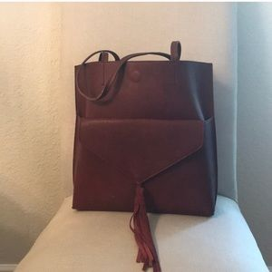 Anthropologie tote bag and clutch burgundy